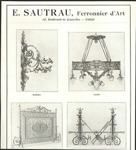 paris courcelles sautrau ferronnier d 39 art fer forge art nouveau publicite 1916 ebay. Black Bedroom Furniture Sets. Home Design Ideas