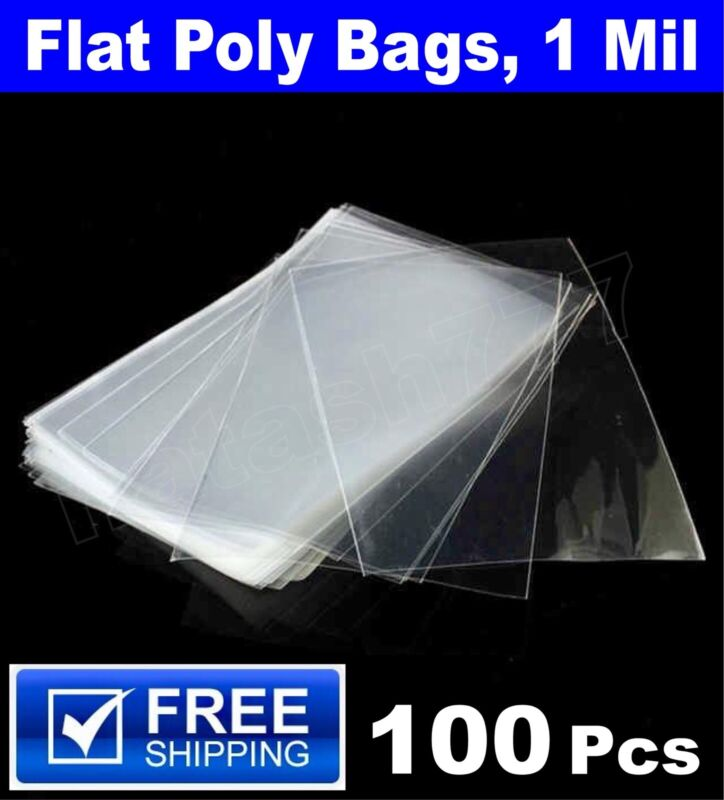 100 - Plastic Clear Flat Poly Bags Flat Open Top Apparel Packaging Packing Bag