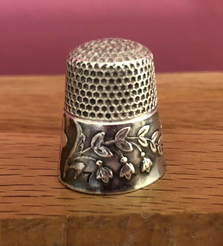 Antique Thimble-Ketcham & McDougall-STERLING- Lily of the Valley Design -Rare!