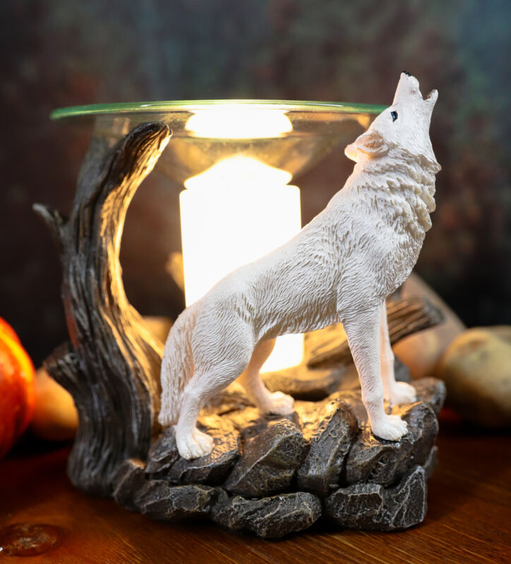 Ebros White Wolf Howling Electric Oil Burner Tart Warmer Statue Night Light