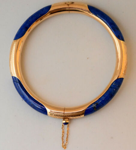 Chinese 14K Solid Gold and Natural Lapis Lazuli Bangle Bracelet (Read)
