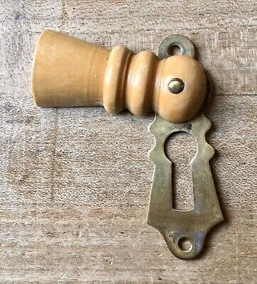 Antique Escutcheon Keyhole Wooden Vintage Door Hardware Victorian Old Salvage
