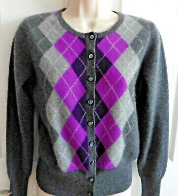 Purple Argyle Sweater (APT. 9 100% Cashmere Gray & Purple Argyle Front Cardigan Sweater Sz)