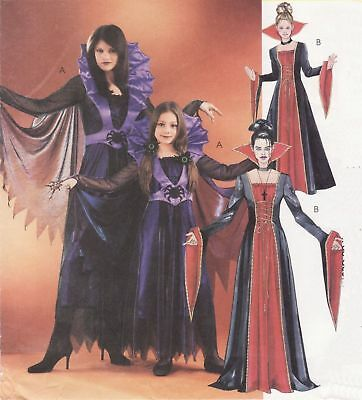 Misses Vampire Gothic Elvira Cape Gown Halloween Costume Sew PATTERN S-XL