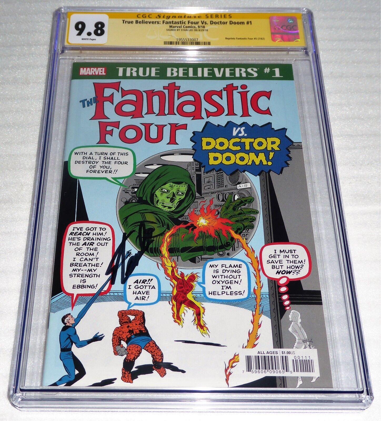 True Believers Fantastic Four Vs. Doctor Doom CGC SS 9.8 STAN LEE Reprints #5