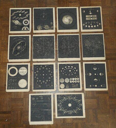 Antique 19th C. Astronomical Lithographs - Celestial Maps/Charts - Set of 14