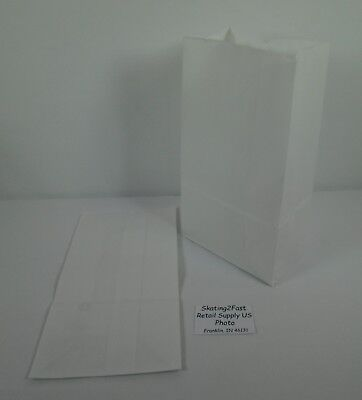 Qty 200 #6 Paper White Kraft Grocery Merchandise Retail Shopping Bags