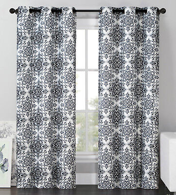 2 Blackout Window Curtains Panel Pair Grommet Drape Thermal Gray Medallion 96