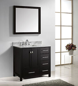 Square Bathroom Sink With Cabinet : ... -Transitional-Single-Sink-Bathroom-Vanity-Cabinet-Mirror-SQUARE-SINK