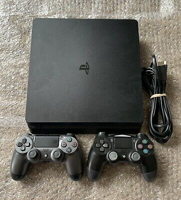 Sony PlayStation 4 PS4 Slim 1TB Black Console w/ 2 Controllers + All Cords