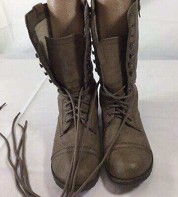Fashion Womens Size 8? Faux Fur Lined Lace Up Brown Boots Casual Wear
