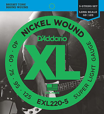 D'ADDARIO EXL220-5  NICKEL WOUND BASS STRINGS, SUPER LIGHT GAUGE 5's - 40-125