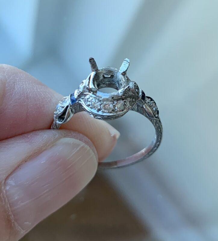 Authentic Art Deco Platinum Diamond And Sapphire Ring Mount Sz 7