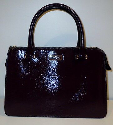KATE SPADE BIXBY PLACE LISE MAHOGANY PATENT LEATHER HANDBAG W/ SHOULDER STRAP