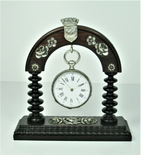 Pocket watch holder RARE solid silver and Brazilian rosewood - Blazon