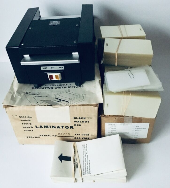 ECR 5000 ID Laminating Machine Laminator 800 Slotted Pouches 50 Carrier Sleeves
