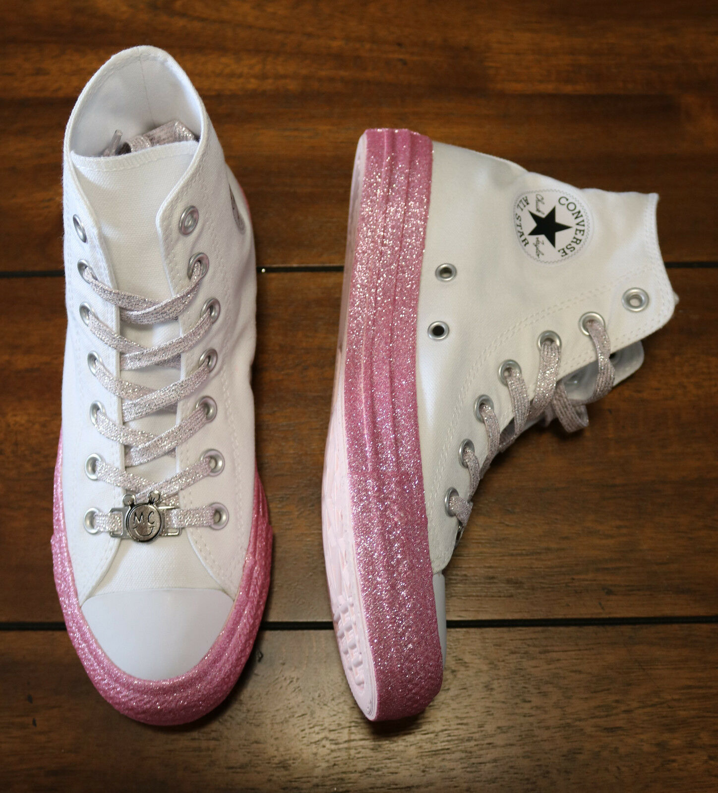 e4c5c658b4d Womens Converse x Miley Cyrus Chuck Taylor All Star Glitter High Top White  Pink
