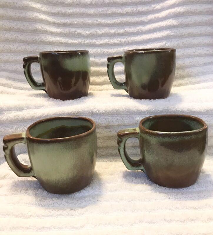 4 Rustic FRANKOMA Pottery TURQOUISE WOODLAND MOSS Coffee CUPS Mugs Farm 5C
