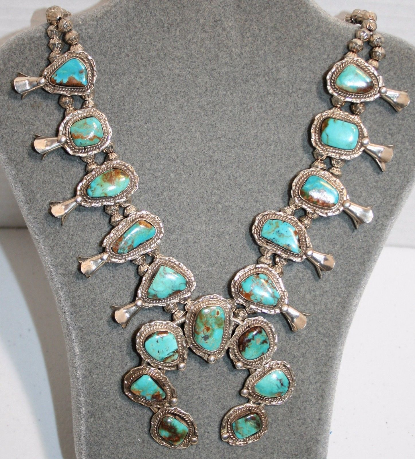 """Native American Old Pawn Turquoise Sterling Squash Blossom Necklace 26"""" Vintage 1"""