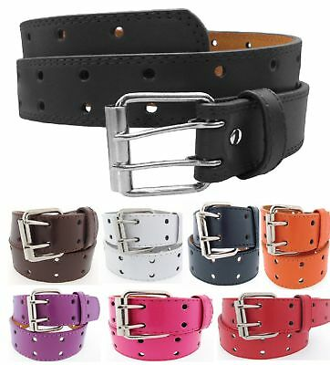 Mens Womens 2 Double Holes Dress Casual Leather Belt 2 Prong S/M/L/XL (2 Mens Dress Belts)