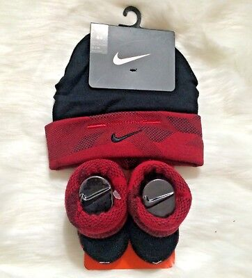 2 Piece Layette Set - Nike Infant Cuff Hat and Booties 2 Piece Layette Set 0-6 months Black/Red Baby