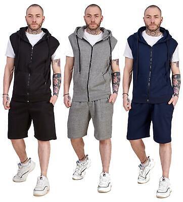 Mens Hoodie & Short Tracksuit Set Sleeveless Zipper Pockets