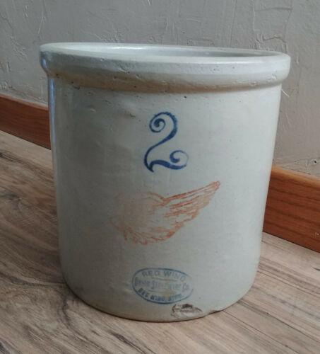 Antique Vintage Primitive 2 Gallon Red Wing Union Stoneware Crock