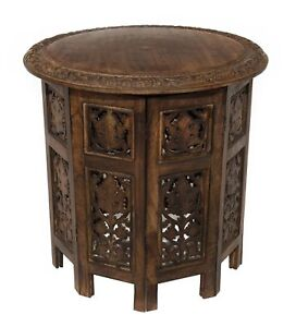 Accent Table Moroccan End Asian Solid Wood Top Living Room Antique Brown Style