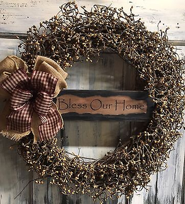 """18"""" Primitive Country Grapevine Wreath Or Centerpiece W/pip Berries & Sign"""