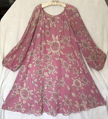 Vintage Emilio Pucci Floral Chiffon Caftan Dress Full Sleeves
