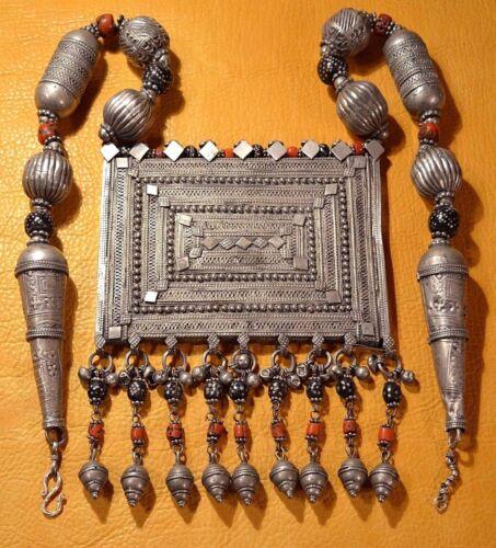 Huge Antique Yemen Bedouin Ethnic Silver Prayer Box W Dangles, Wedding Necklace