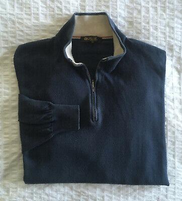 Loro Piana Men's Sz 58 (2XL) 1/4 Zip Sweater Cotton Navy Blue Pullover Italy