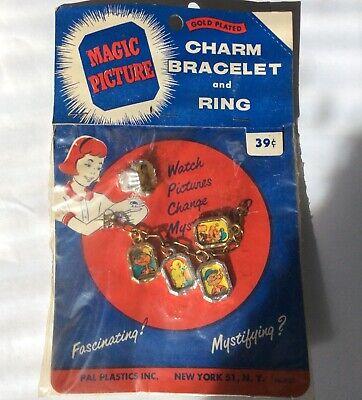 Vintage Popeye Looney Toons Elmer Fudd Charm Bracelet And Ring RARE ()
