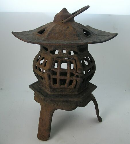 Vintage Cast Iron Japan Lantern Pagoda Garden Candle Lamp Tea Light Patina