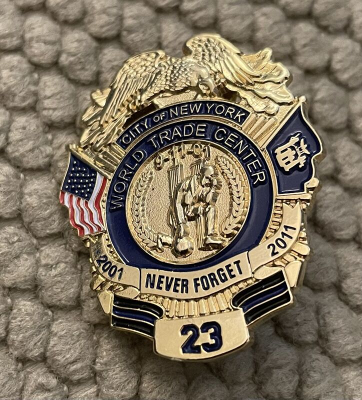 """WTC Never Forget Heroes 23 10 Year Anniv. Pin 1 1/2"""" Super Special"""