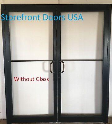 Bronze Storefront Door Pair 60x 70 Commercial Door W Closer Offset Pivots