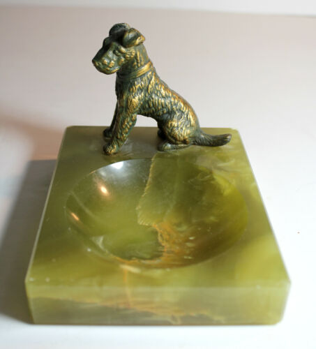 Antique FOX TERRIER ASHTRAY Green Onyx Dog Figure Metal Bronze Finish Art Deco