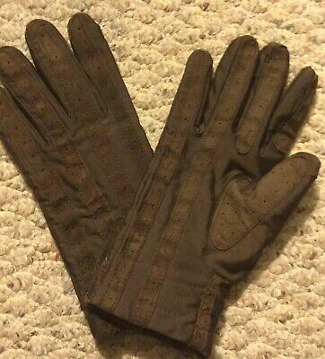 VINTAGE! ~ ISOTONER ~ ARIS Mens XL Brown Spandex Nylon Lined Driving Gloves -