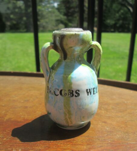VTG Miniature Jacobs Well Texas Crock Bottle Pottery Wax Sealed Souvenir Jug