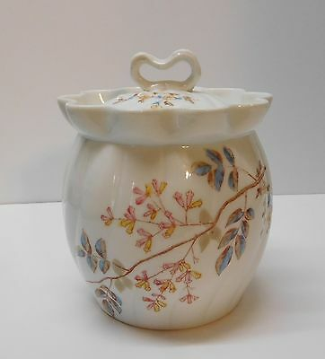 Lidded Jar with Flowering Tree Ribbed Scalloped Numbered Vintage