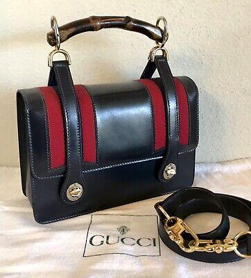 Gucci Bamboo Web Handbag Very Rare Vintage Navy Blue Red 2 Way Shoulder Tote Bag