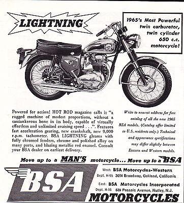 1965 BSA LIGHTING 650cc MOTORCYCLE  ~ ORIGINAL SMALLER PRINT AD