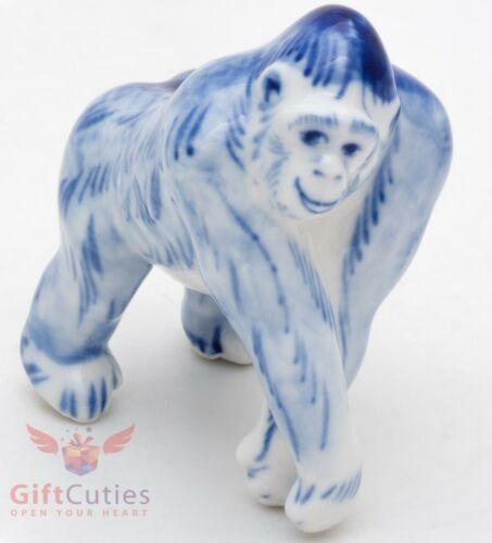 Gzhel Porcelain Figurine of Gorilla Monkey handmade Гжель