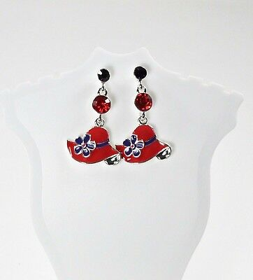 Red Hat Earrings Crystals Dangle Drop Silver Tone Society Ladies Crystal Dangle Bead Earrings