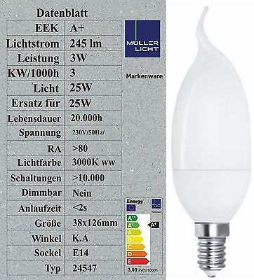 M LLER LICHT LED KERZE DEKO WINDSTO 3W ERSETZT 25W 245LM 38X126MM 20 000H 24547