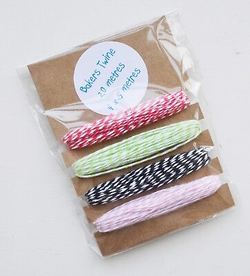 20 Metres Cotton Bakers Twine - Set of 4 - Col Red Green Pink Black - String (Bakers Twine Set)