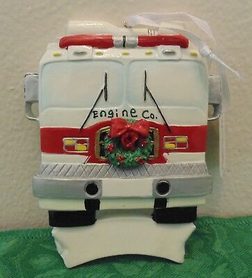 Personalized Fire Engine Christmas Tree Ornament Firefighter Holiday Gift ()