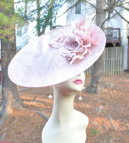 Dusty Pink Sinamay Disc Fascinator Hat with Orange Handmade Silk Flowers Feather