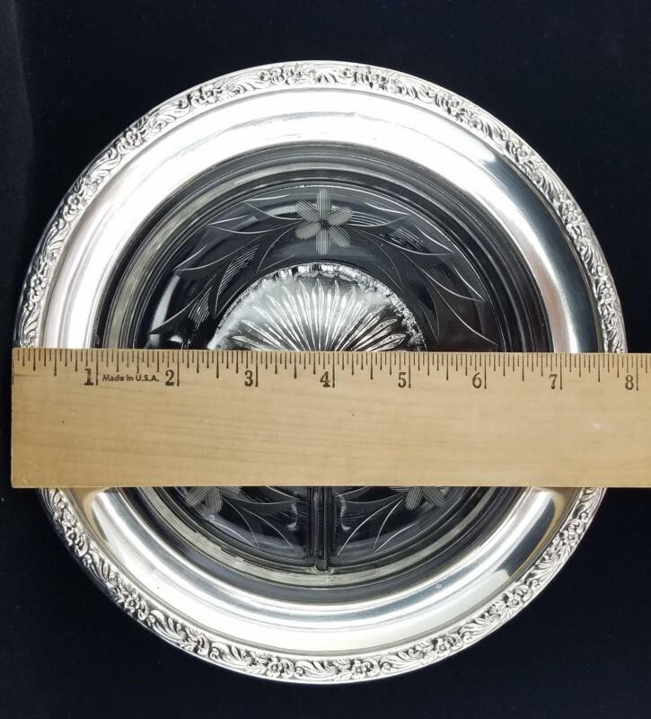 """Vintage Repousse Sterling Silver & Cut Crystal 3 Part Divided Relish Dish, 8"""""""