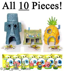 SpongeBob-Aquarium-ALL-10-PIECES-New-Toy-Character-Fish-Tank-Ornaments-Set-NEW